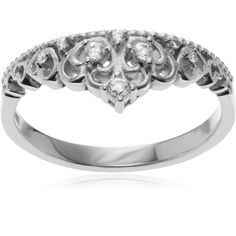 Journee Collection Sterling Silver Cubic Zirconia Accent Tiara Ring (1,545 PHP) ❤ liked on Polyvore featuring jewelry, rings, silver, band rings, band jewelry, cubic zirconia rings, long sterling silver rings and wide sterling silver rings
