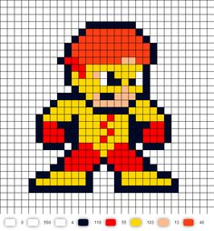 Kid Flash Teen Titans Perler Bead Pattern
