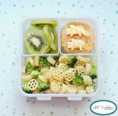from MEET THE DUBIENS blog    This was for an afternoon nutrition break. I made pinwheel pasta sauteed with butter, broccoli and parmesan cheese. I made this for supper and served the leftovers in her lunch. A sliced kiwi and some crackers with dino-shaped cheese.