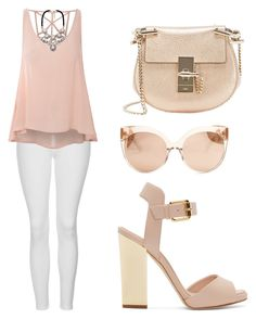 """pinky day"" by tania-alves ❤ liked on Polyvore featuring Topshop, Glamorous, Giuseppe Zanotti, Chloé and Linda Farrow"