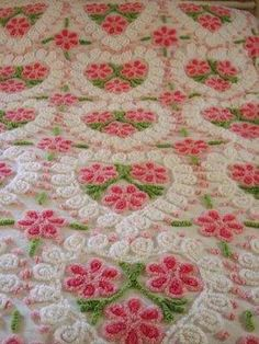 Vintage Chenille pattern is flowers in hearts, pink, white and green