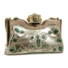Womens Purses  : Valentino SIlver and Jeweled Evening Bag