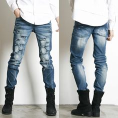 Remember Click Slit and Frayed Relaxed Fit Jeans BLUE S M L Korean Wear #RememberClick #SlimSkinny