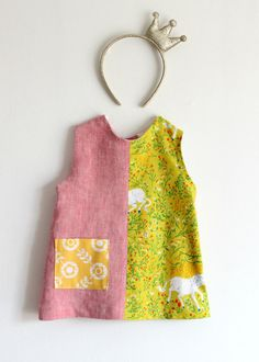 Linen and popeline girls' sundress summer dress. by bymamma190