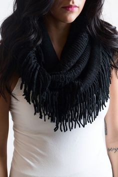 All The Feels Black Fringe Scarf – Single Thread Boutique, $20.00  #infinity #scarf #fringe #black #warm #winter #cozy #soft #knitted #textured #singlethreadbtq #shopstb #boutique