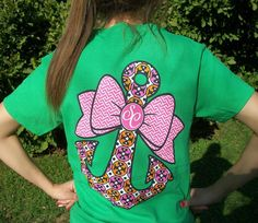 Southern Couture Classic Anchor Bow Bright Green Girlie T-Shirt - Preppy Style #CoutureTeeCompany #GraphicTee