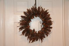 My pinecone wreath... acorns, cones from white pine trees, & dried astilbe