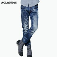 Aolamegs Men Denim Jeans Pants Men 's Elastic Slim Jeans Trousers Male Straight Tide Brand Cowboy Trousers Boys Jeans Bottoms #Affiliate