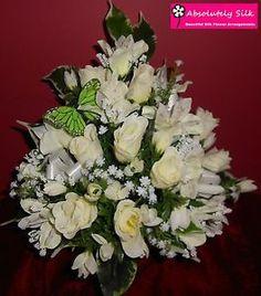 ARTIFICIAL SILK FLOWER ARRANGEMENT POSY FOR GRAVE POT LOVELY TRIBUTE