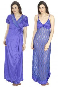 Looking sassy in this blue coloured satin and net nighty with robe will leave an impression on your hubby. #sleepewearonline #onlinenighties #nighwearset #nightweardresses #nightsuits #womensfashion Shop now-  https://trendybharat.com/women/lingeries-sleepwear/gown/women-satin-net-royal-blue-robe-nighty--hc-e15-265_1?mfp=3f-brand%5B723%5D