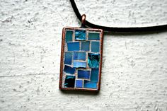 Mosaic Glass Blue Energy Copper Pendant by earthmothermosaics