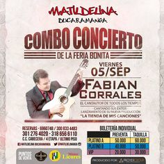 Disfruta del gran concierto de Fabian Corrales este 5 de septiembre #musica #music #vallenato #nigth #people #mujer #hombre #latina #men #women #bucaramanga #matildelina #cccuartaetapa Latina, Baseball Cards, Bucaramanga, September, Concert, Songs, Events, Woman, Musica