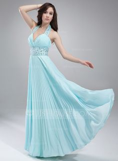 Prom Dresses - $139.99 - A-Line/Princess Halter Floor-Length Chiffon Prom Dress With Beading Pleated (018018786) http://jjshouse.com/A-Line-Princess-Halter-Floor-Length-Chiffon-Prom-Dress-With-Beading-Pleated-018018786-g18786