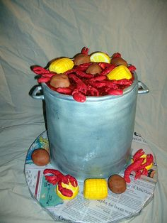 The crawfish boil cake!  I will attempt to make this from scratch with my marshmallow fondant.  Wish me luck!