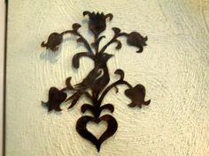 Primitive Early 18th C Style Tulips Bird Heart Motif Tin Quilt Pattern Template ...~♥~