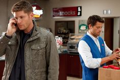*SPOILER ALERT* - Dean with a phone... and Cas  Promo shot from 9x06 Heaven Can't Wait