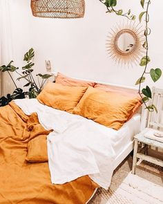 32 Beautiful Yellow Bedroom Decor Ideas You Will Love - The bedroom is the first room that we see when we wake up in the morning and the last before we go to sleep. The colors that we use in our bedroom dec. Earthy Bedroom, Rustic Bedroom Design, Modern Bedroom, Contemporary Bedroom, Nature Bedroom, Bedroom Neutral, Bedroom Designs, Modern Contemporary, Teenage Girl Bedroom Decor