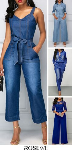 Belted Open Back Denim Blue Pocket Denim Jumpsuit Casual Outfits, Cute Outfits, Fashion Outfits, Fashion Trends, Latest Fashion For Women, Womens Fashion, Denim Jumpsuit, Jumpsuits For Women, African Fashion