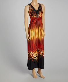 Rust & Yellow Abstract Beaded Maxi Dress - Women by R&M Richards #zulily #zulilyfinds