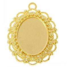 """DoreenBeads Retail Charm Pendants Oval Gold color Cabochon Setting(Fit 18.3mm x 14.3mm)3.1cm x 2.4cm(1 2/8"""" x1""""),20PCs #Affiliate"""