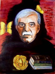 Una idea, mucho arte Mariposas amarillas Gabriel García Márquez Mixta sobre tela, 80 x 60 cm Autora Guadalupe Montemayor Salazar