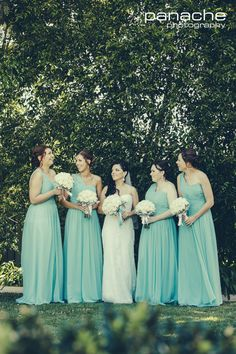 Pastel Silver Grey Blue Bridesmaids Dresses