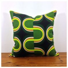 "1960/70s Vintage Retro Psychedelic Lined Cushion Cover 16"" x 16"" Green"