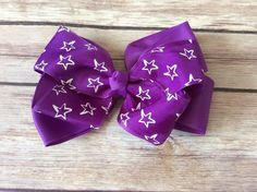 "Large Purple Star 5"" Navy Blue Boutique Bow"