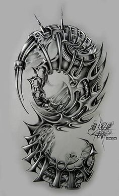 Decorate With Murals and Wall Tattoos Biomech Tattoo, Biomechanical Tattoo Design, Skull Tattoos, Body Art Tattoos, Cool Tattoos, Celtic Tattoos, Viking Tattoos, Tattoo Sleeve Designs, Sleeve Tattoos