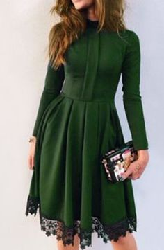 Manches Longues Slim Maxi Robes Femme Mode Automne Hiver Vert Robe Dames Vê Green Party Dress, Green Dress Casual, Green Dress Outfit, Maroon Outfit, Dress Black, Look Fashion, Womens Fashion, Women Fashion Casual, Trendy Fashion