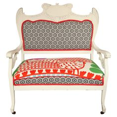 Vintage White Settee with Merimekko Fabric  American  20th century  Vintage seettee on wheels with Merimekko Fabric.