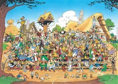 Group photograph of the characters in Asterix adventures - Document for 'Le Journal exceptionnel', a publication celebrating Asterix's 35th birthday (1994).