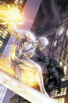 Silver Surfer & Black Panther by Michael Turner