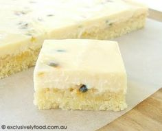 Try with other fruits: This slice has a coconutty 'melt and mix' base and a soft, creamy passionfruit flavoured topping. We like the slice to have significant pas. Passionfruit Slice, Passionfruit Recipes, Yummy Treats, Delicious Desserts, Sweet Treats, Yummy Food, Aussie Food, Australian Food, Baking Recipes