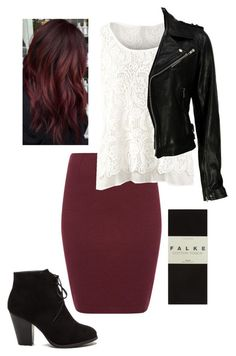 """""""pencil skirt and leather jacket"""" by rubygirl645 on Polyvore featuring Sessùn, CAbi, VIPARO and Falke"""