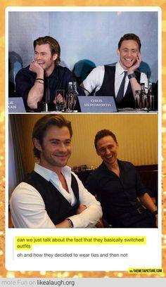 Chris Hemsworth and Tom Hiddleston