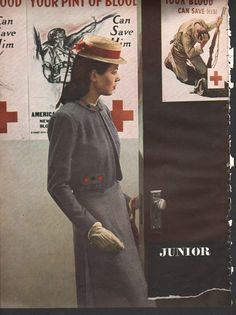 Fashion magazine print, original, 1940s Harper's Bazaar, Red Cross, ladies suits, Kodachrome color by Hoyningen-Huene - YWIW000062