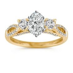 Three-Stone Swirl Diamond Engagement Ring in 14k Yellow Gold with Oval Diamond  Dream Ring.....  .96 Center from Shane & Co