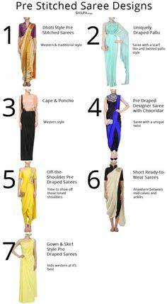 7 Pre Stitched Saree Designs to Try for Your Next Party From off-shoulder to dhoti style, discover the latest pre stitched saree trends from fashion weeks and designer collections! Indowestern Saree, Dhoti Saree, Anarkali, Hijab Saree, Salwar Kameez, Lehenga, Saree Wearing Styles, Saree Styles, Saree Blouse Patterns