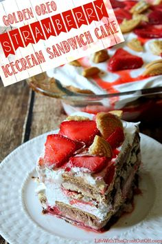Golden Oreo Strawberry Ice Cream Sandwich Cake from Life With the Crust Cut Off, is making my mouth water!
