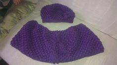 The puff stitch shawl and matching beany