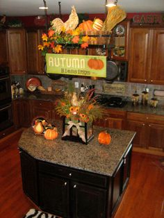 traditional kitchen Decorate your  pot rack for Fall.