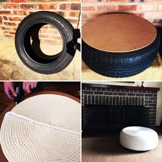 DIY: old tyre to chic ottoman