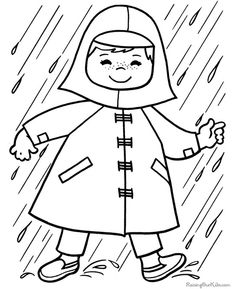 Rainboots & Rain Hat Free Printable Coloring Page | Free Printable ...