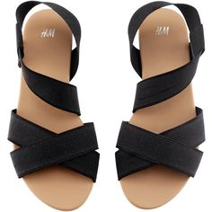 H&M Sandals (€5,76) ❤ liked on Polyvore featuring shoes, sandals, flats, black, rubber sole sandals, black rubber sole shoes, flats sandals, black flat shoes and flat shoes