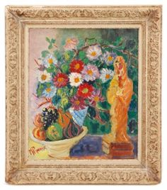 Madeleine Rouart, Fleurs et Fruit, Oil On Board : Lot 719. Estimated $400-$600