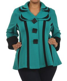 Love this Teal & Black Double-Collar Button-Up Jacket - Plus by Come N See on #zulily! #zulilyfinds