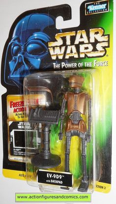 Kenner/Hasbro toys action figures for sale to buy STAR WARS: power of the force / potf II 1997 EV-9D9 - (Freeze Frame series) Card variant info: .01 freeze frame card NEW - still factory sealed in the
