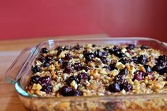 Baked Brown Butter Oatmeal with Blueberries and Pears, adapted from Heidi Swanson's Super Natural Every Day