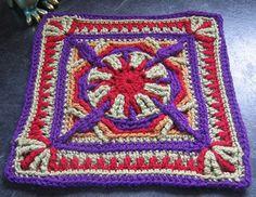 """Purple Throated Hummingbird 12"""" Afghan Overlay Block ~ free pattern"""